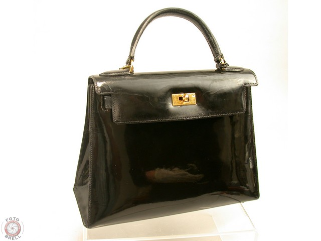 hermes kelly bag black schwarz lack lacquer enamel vintage 25cm original early ebay. Black Bedroom Furniture Sets. Home Design Ideas